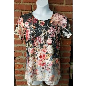 Simply Emma Ombre Floral Lace Blouse Top, 1X
